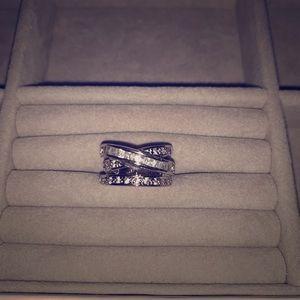 Silver CZ Crisscross Ring Size 5